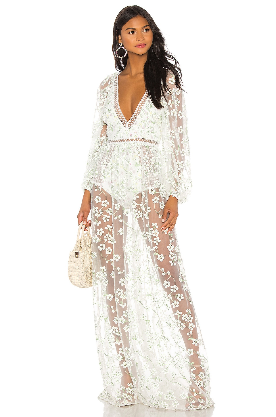 For Love & Lemons Eclair Maxi Dress in Ivory Floral