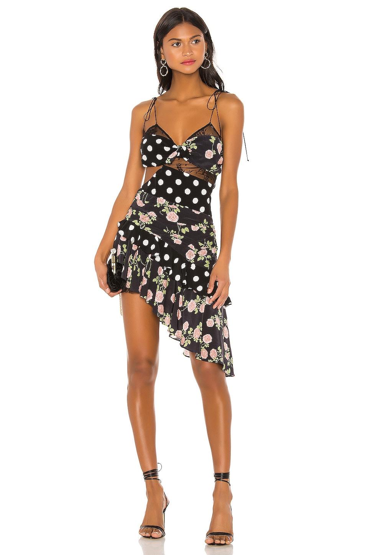 For Love & Lemons Butterscotch Tank Midi Dress in Noir Roses