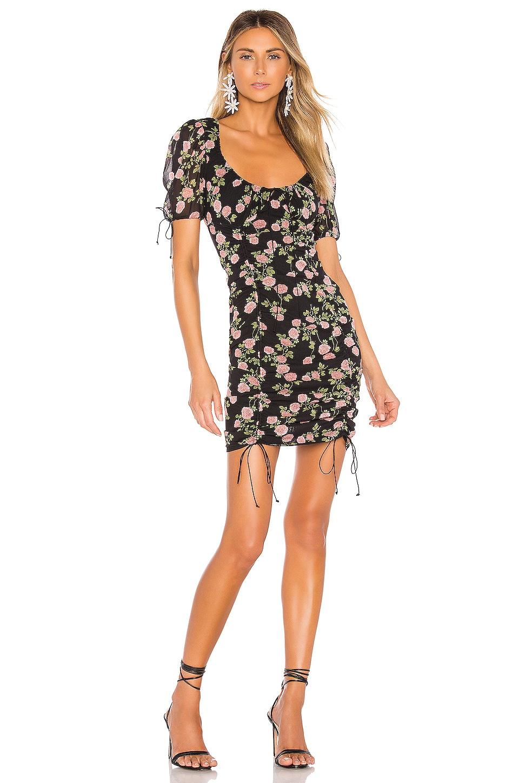 For Love & Lemons Biscotti Mini Dress in Noir Roses