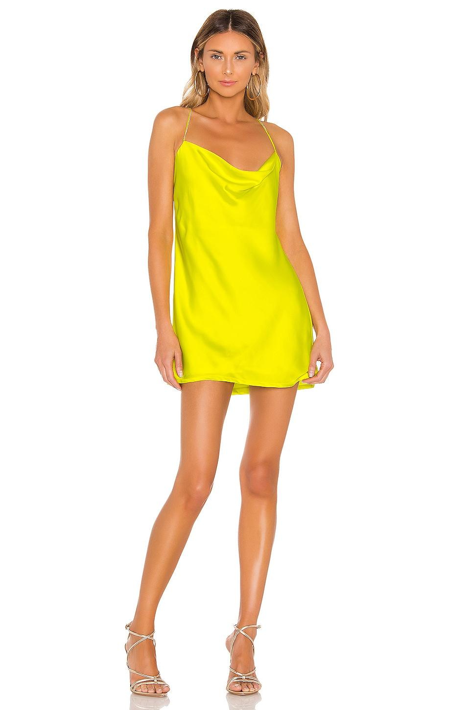 For Love & Lemons Meringue Mini Dress in Neon Lime