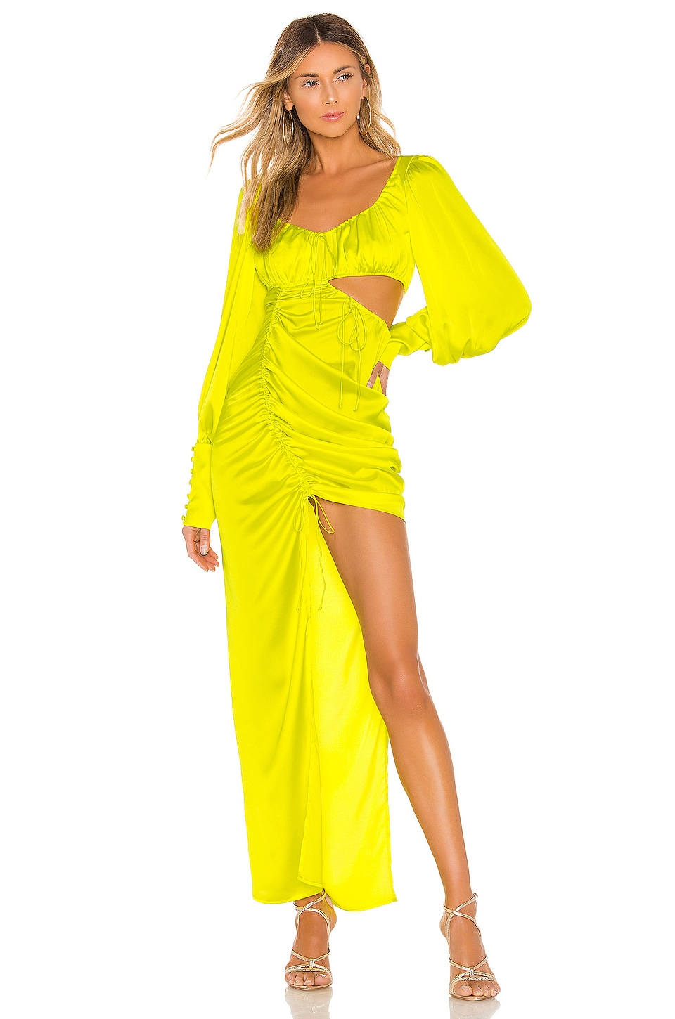 For Love & Lemons Meringue Maxi Dress in Neon Lime