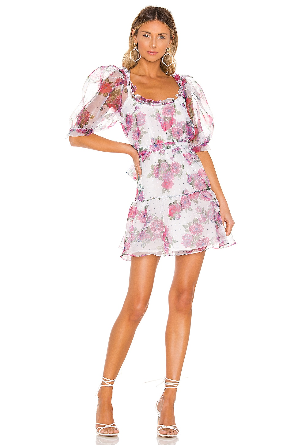 For Love & Lemons X REVOLVE Volume Sleeve Fit And Flare Dress in Pink & Blue Floral