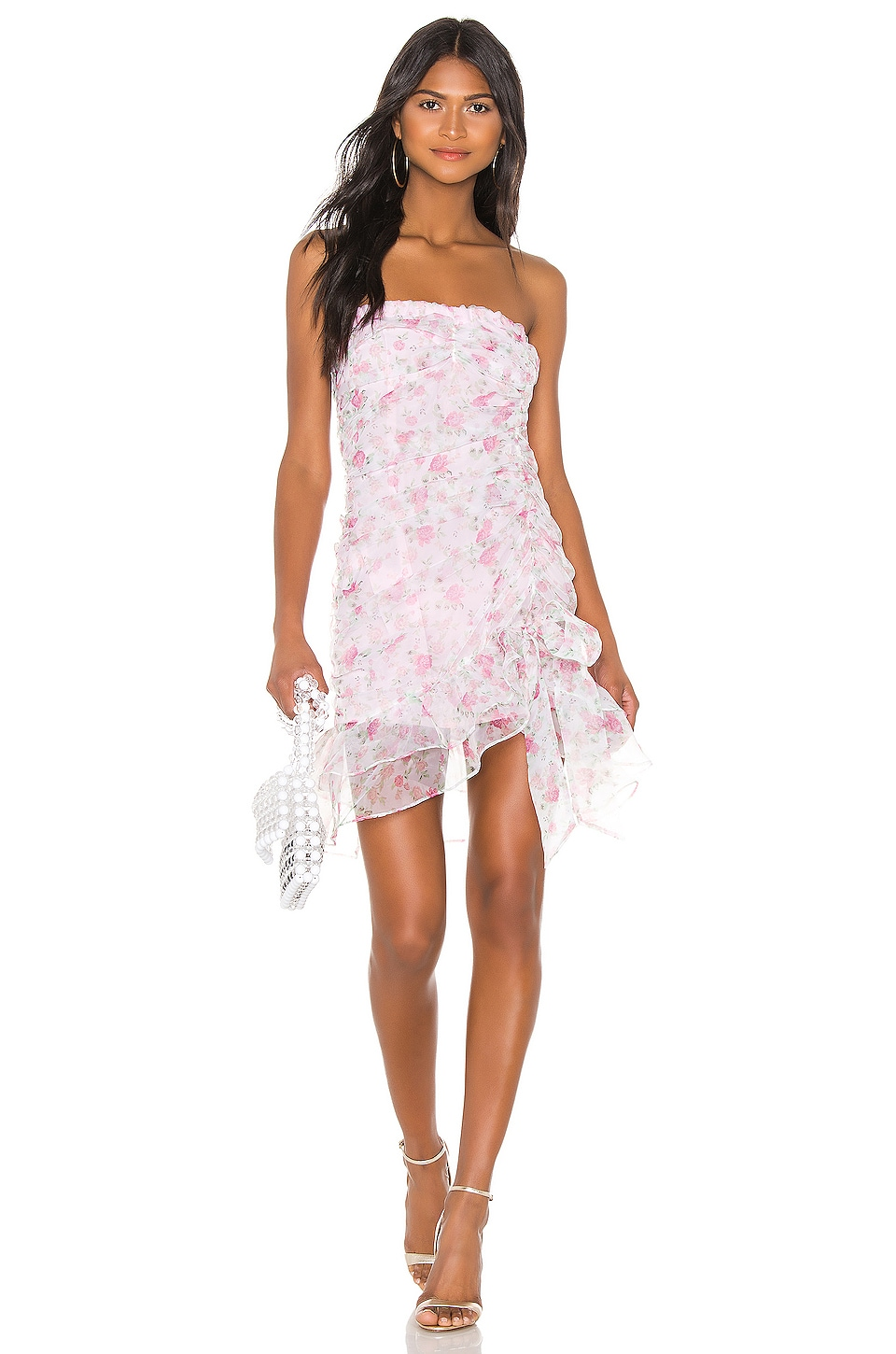 For Love & Lemons X REVOLVE Strapless Mini Dress in Pink & White Floral