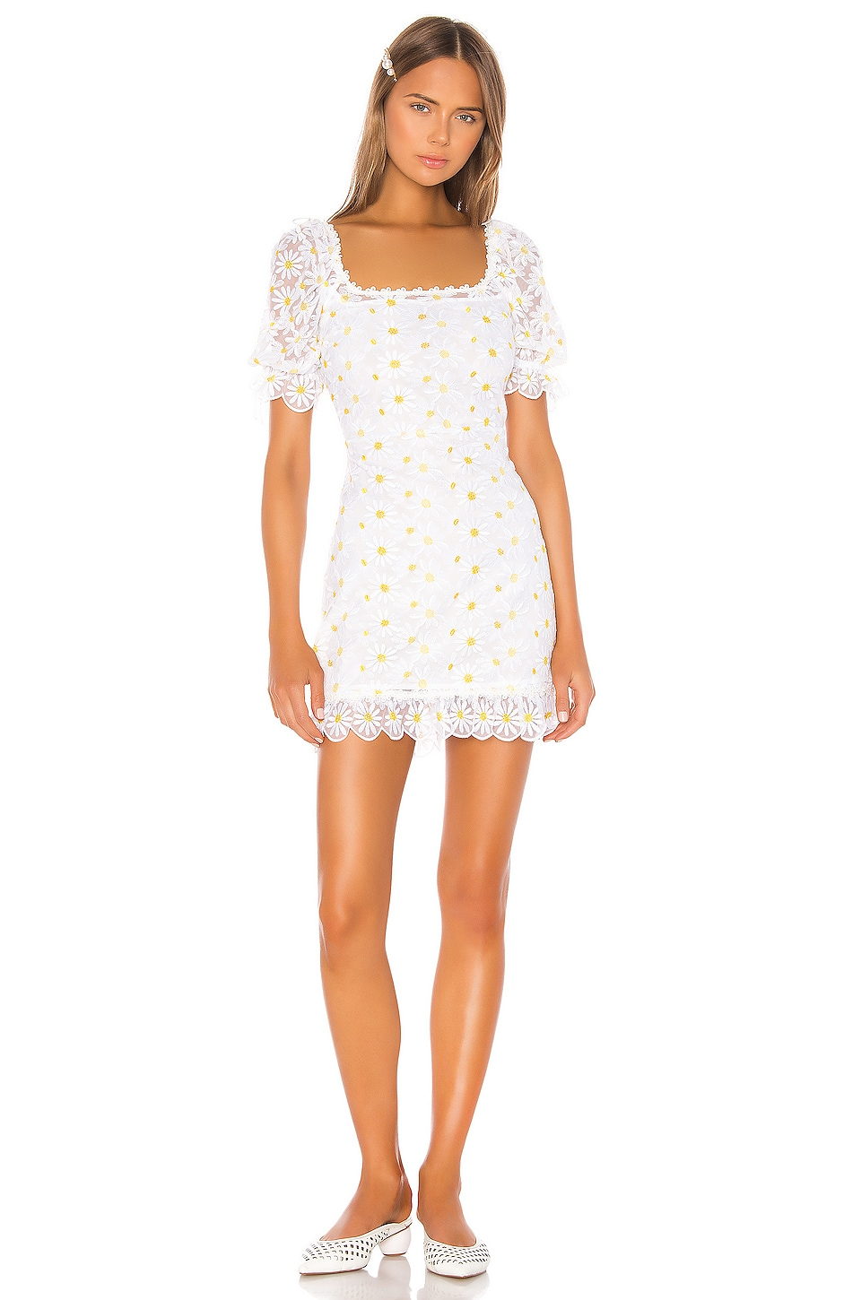 For Love & Lemons Brulee Daisy Mini Dress in Daisy