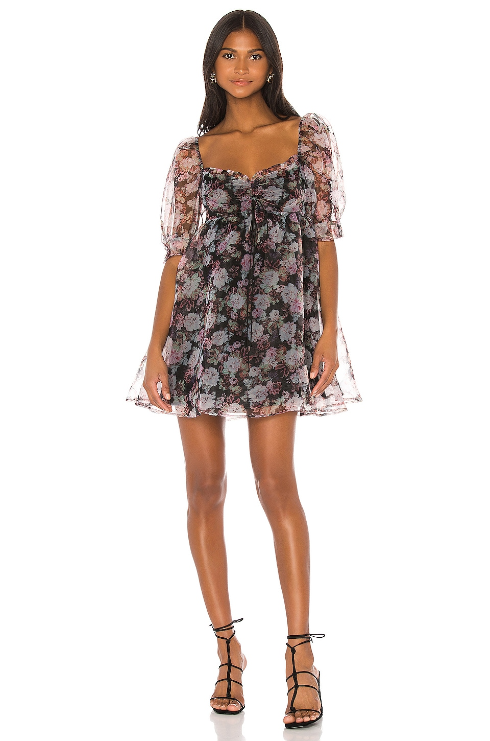 For Love & Lemons Faye Baby Doll Dress in Black Floral