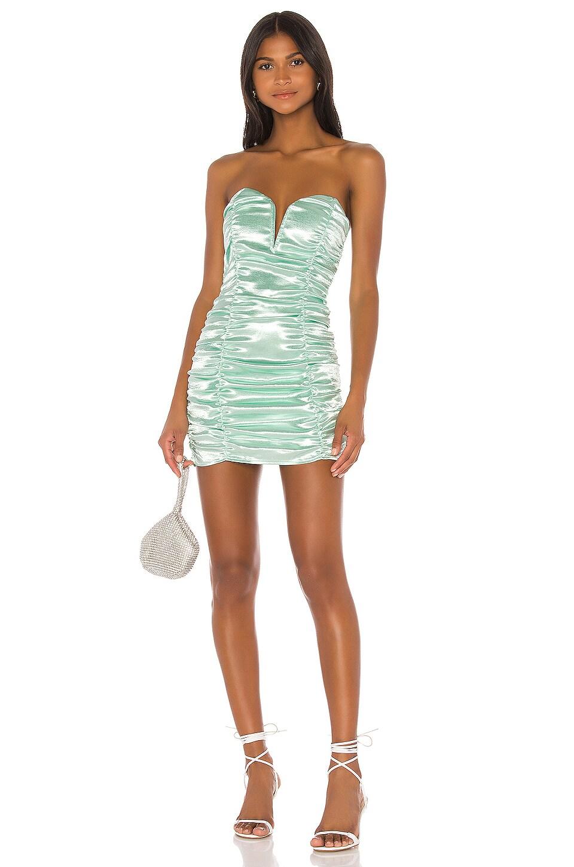 For Love & Lemons Stevie Metallic Mini Dress in Mint