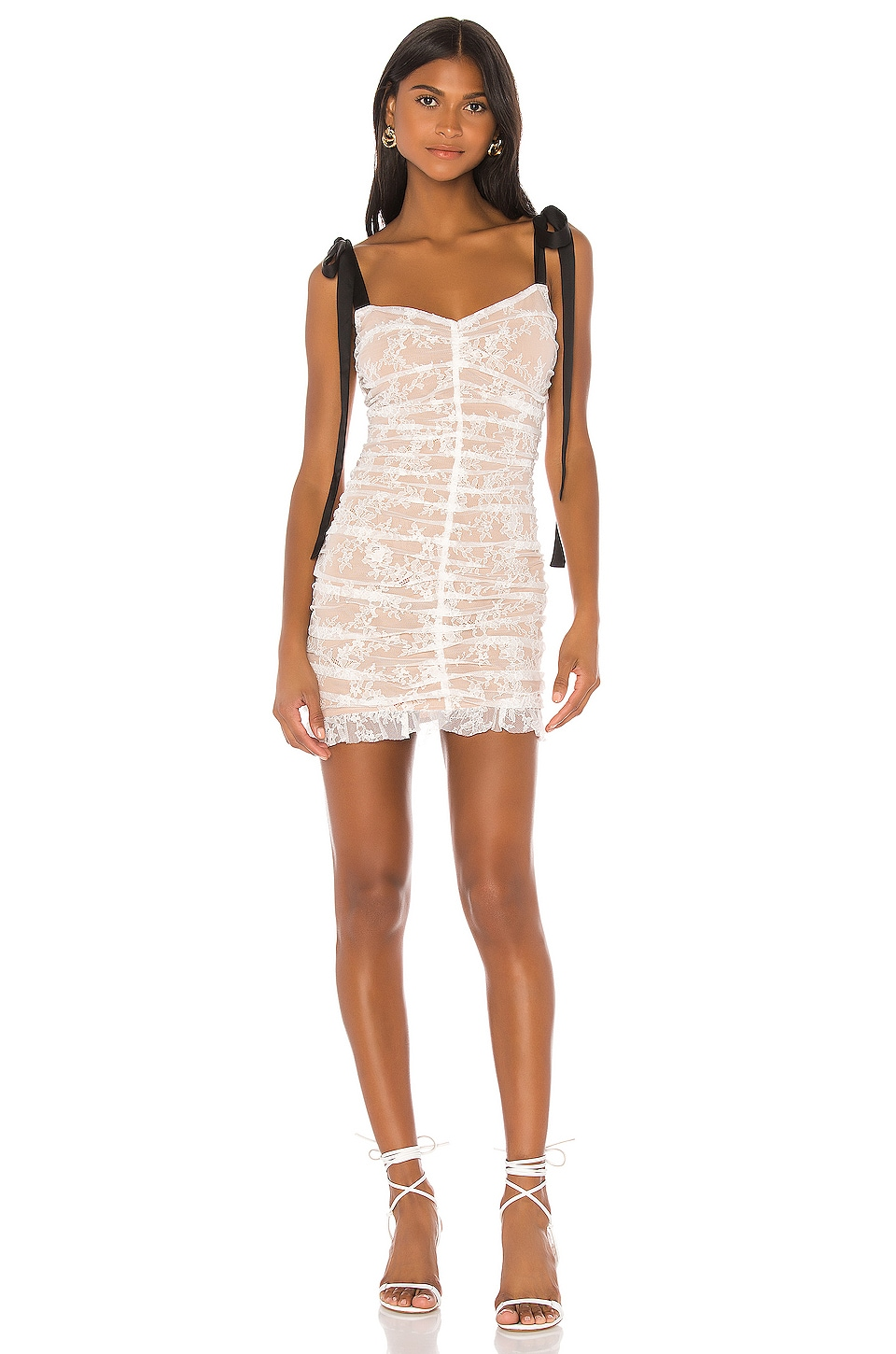 For Love & Lemons Dolly Mini Dress in White Lace