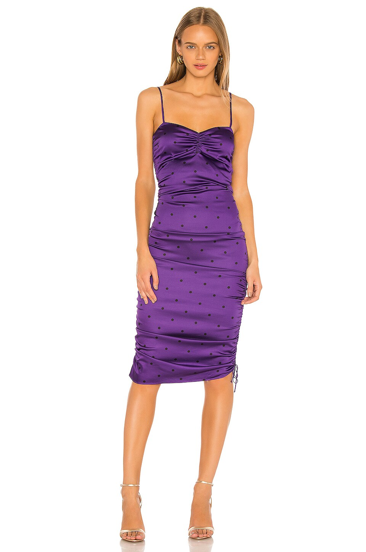 For Love & Lemons Paula Ruched Dress in Purple Dot