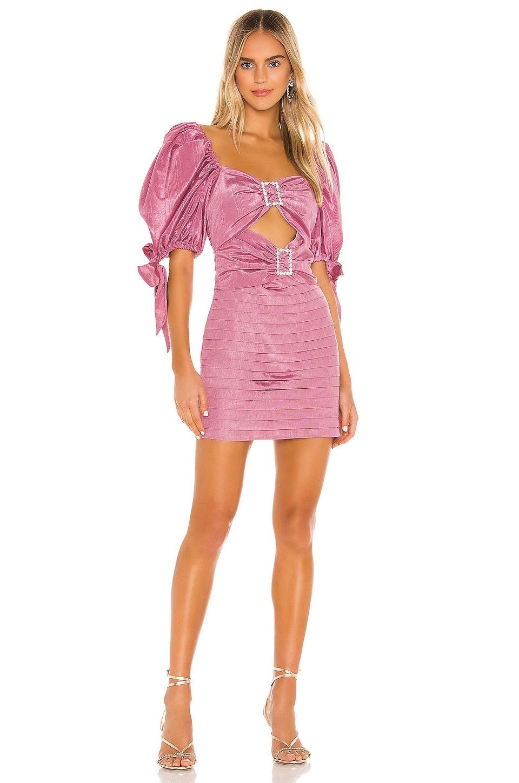 For Love & Lemons Bijoux Moire Mini Dress in Mauve