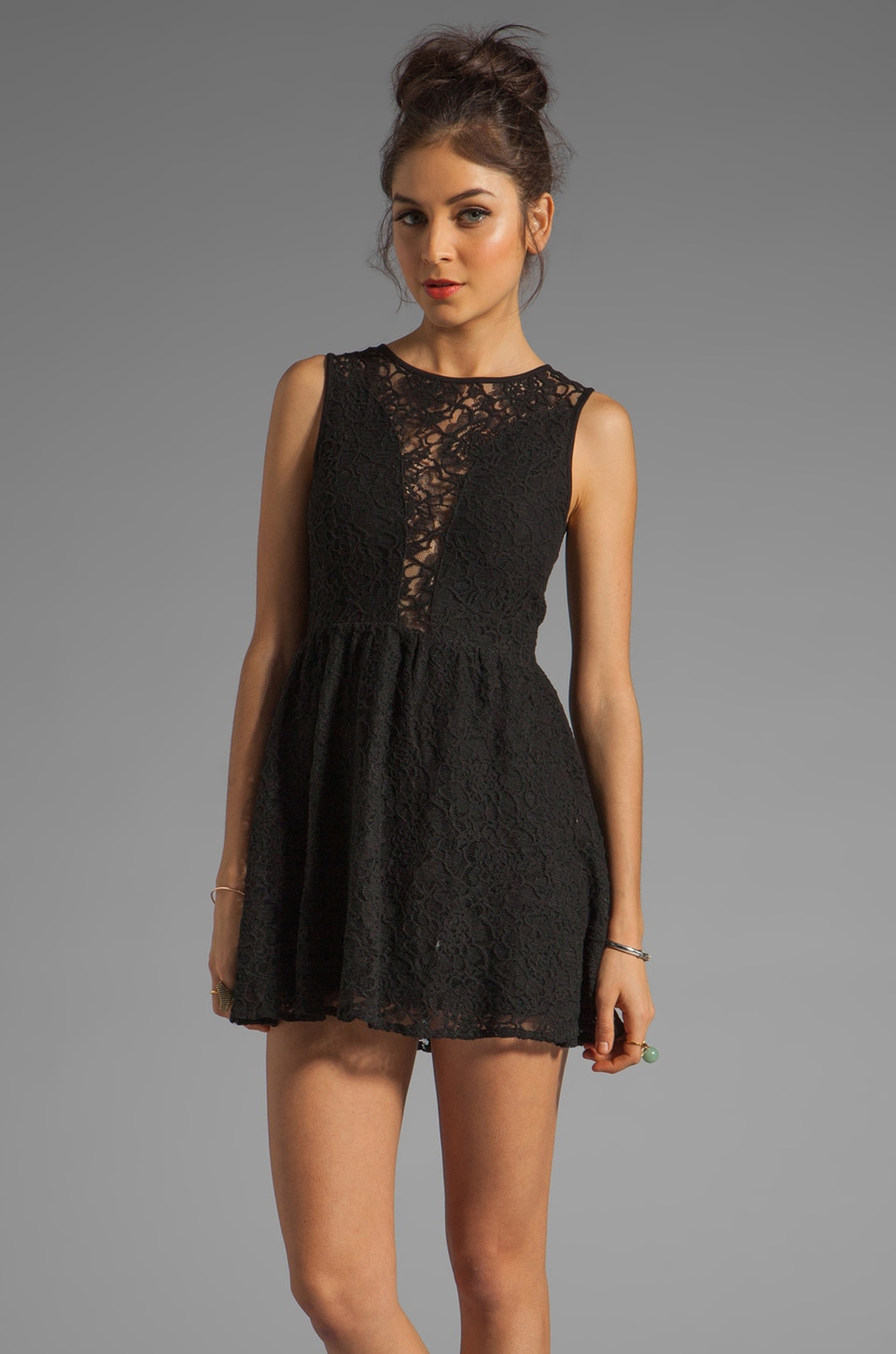 For Love & Lemons Floral Lace Lulu Dress in Black