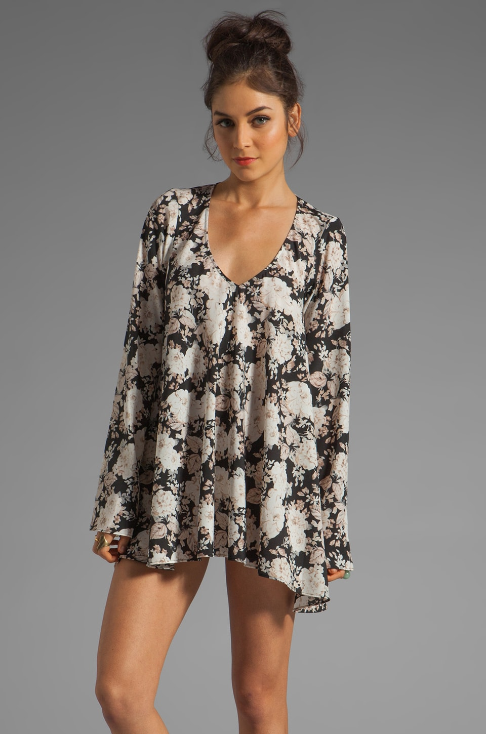 For Love & Lemons Daytripper Dress in Black Floral