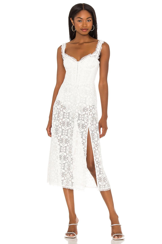 For Love & Lemons Nadine Midi Dress in White