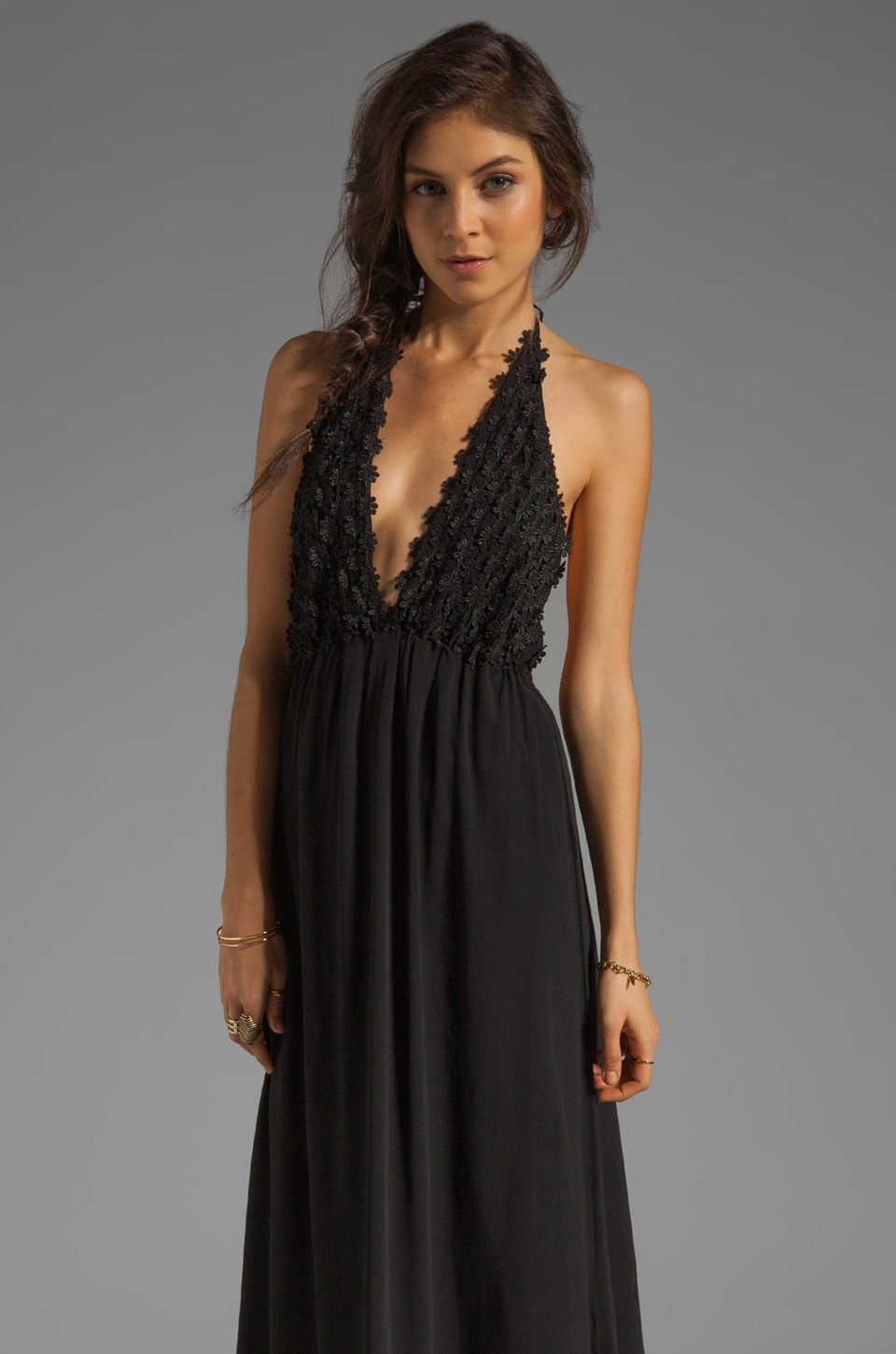 For Love & Lemons EXCLUSIVE Camillia Maxi Dress in Black