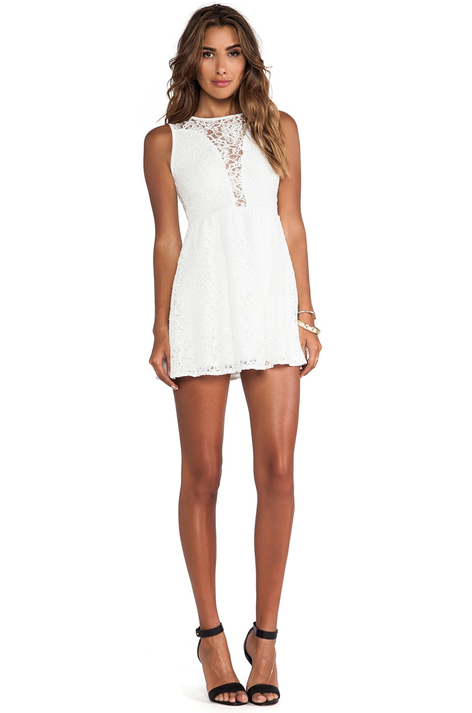 For Love & Lemons Lace Lulu Dress in White