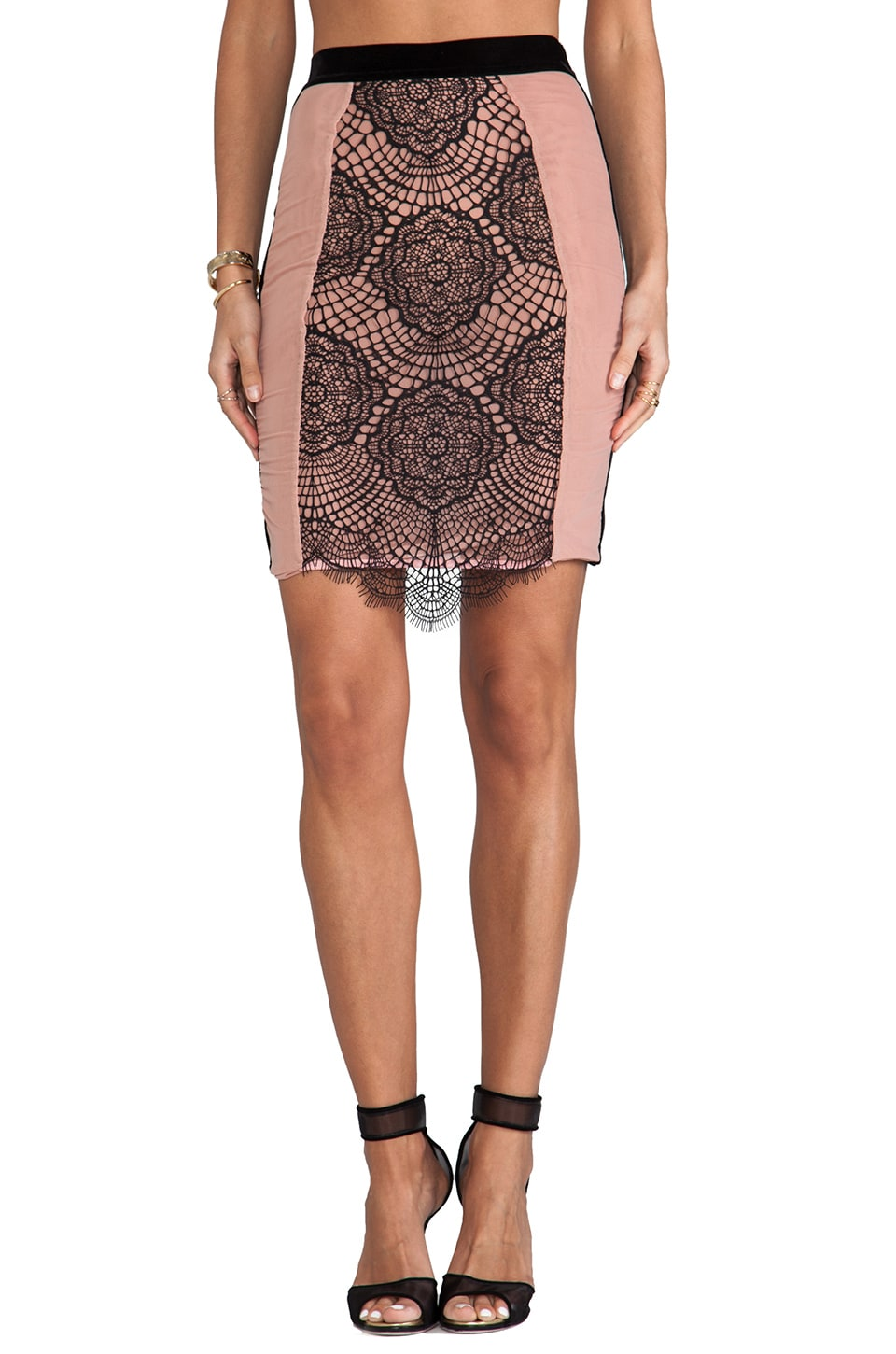 For Love & Lemons Very French High-Waist Slip Skirt in Blush/Black