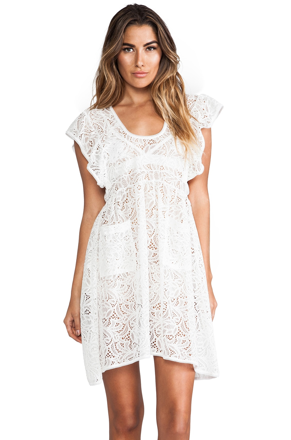 For Love & Lemons Ain't No Wifey Apron in Ivory