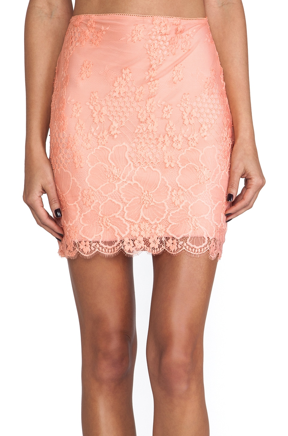 For Love & Lemons Flower Bomb Slip Skirt in Sorbet & Nude