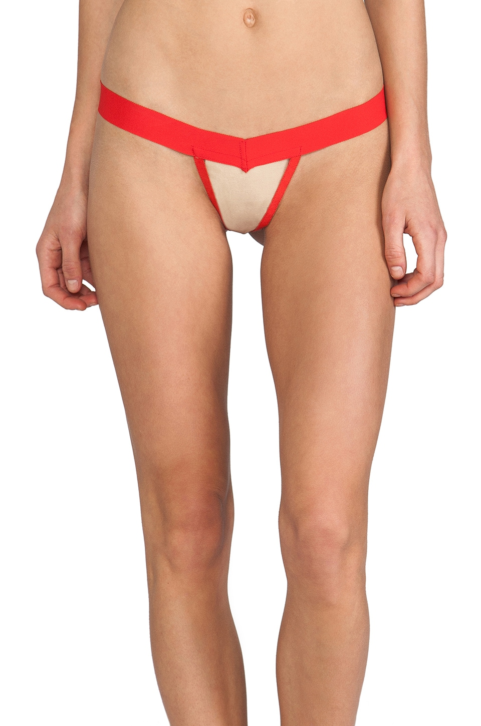 For Love & Lemons Valentines Thong in Red