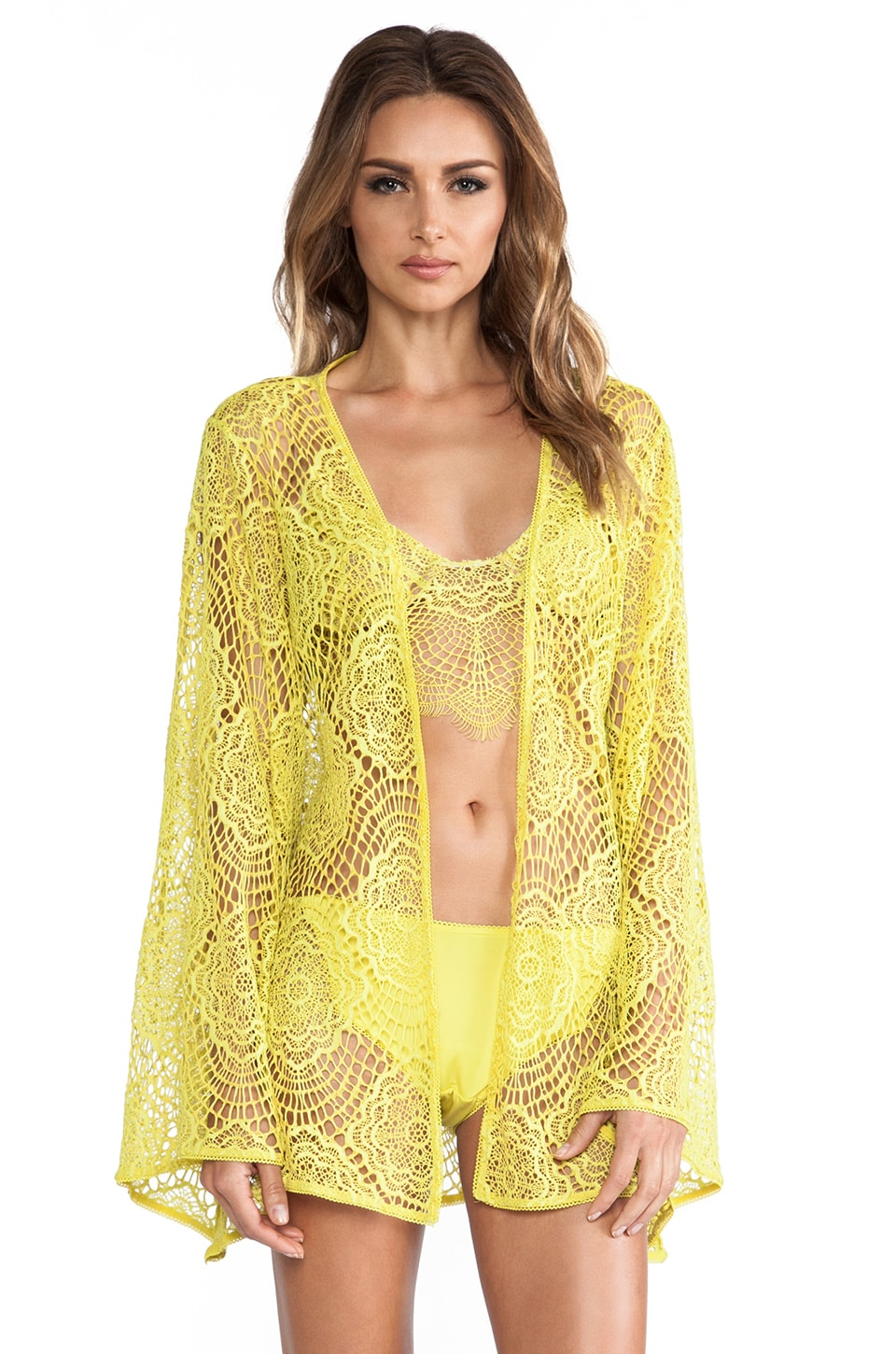 For Love & Lemons Dream Girl Robe in Chartreuse