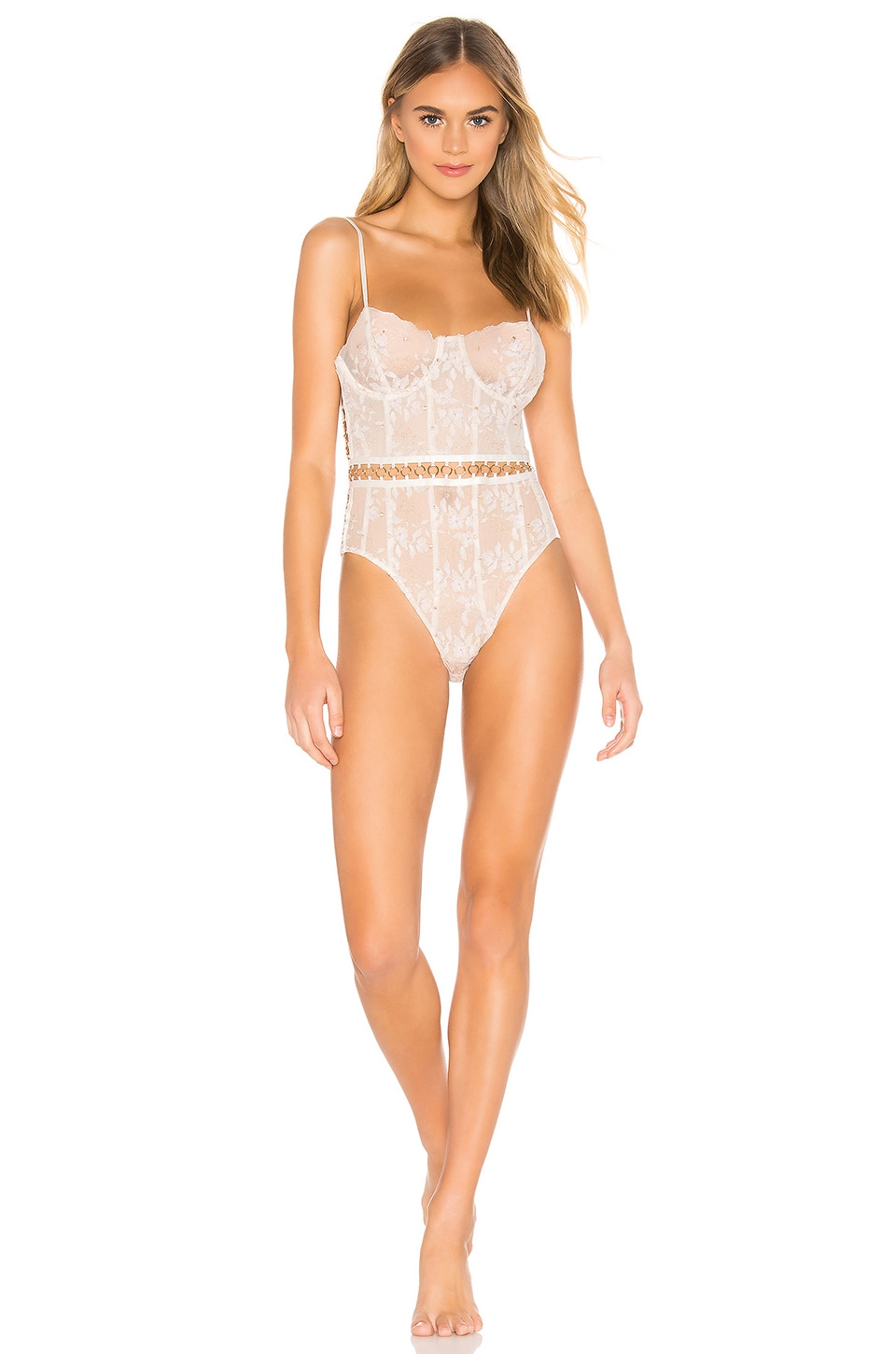 For Love & Lemons Mariette Embroidery Bodysuit in Shimmer