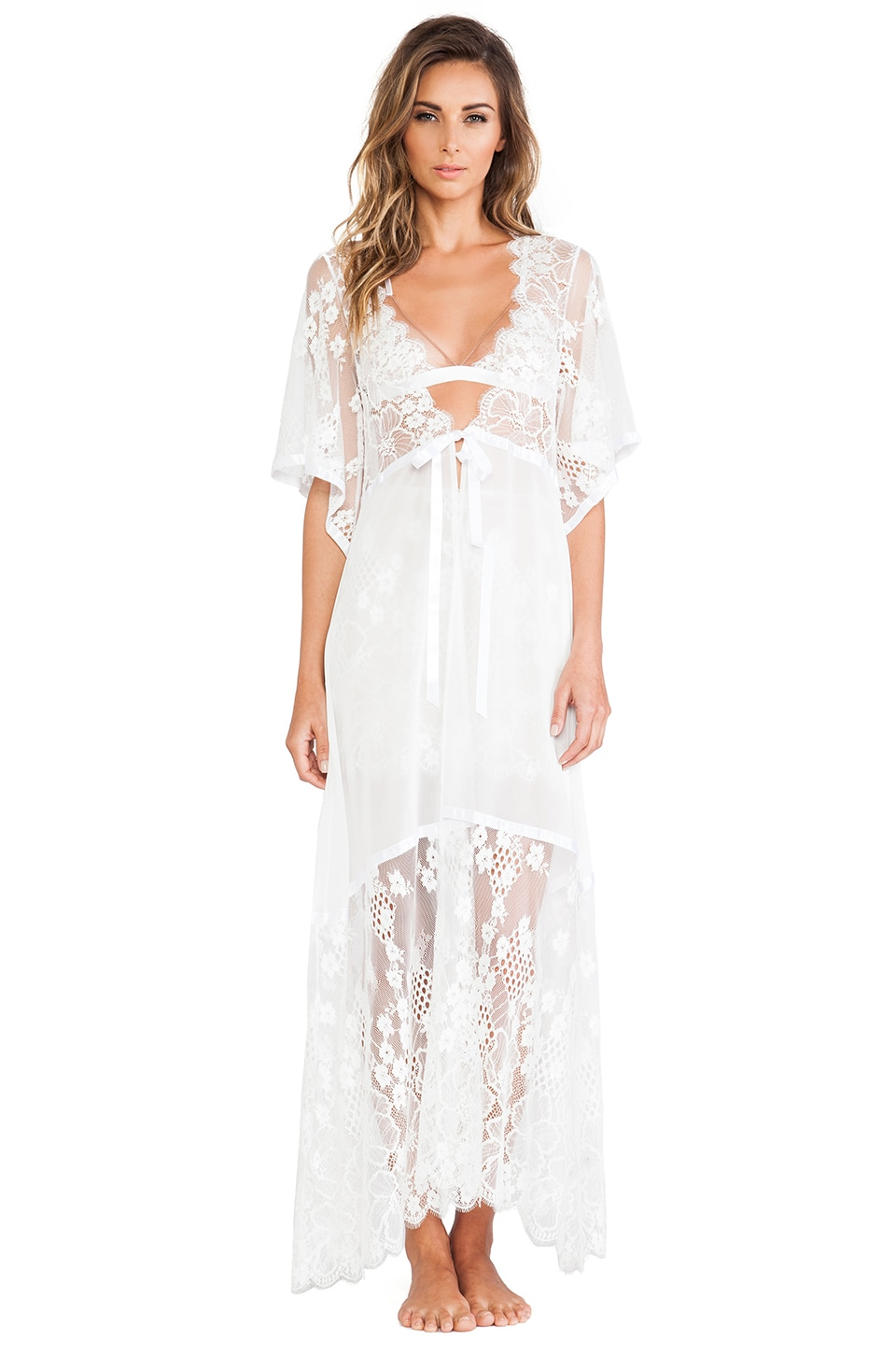 For Love & Lemons Anastasia Robe in White