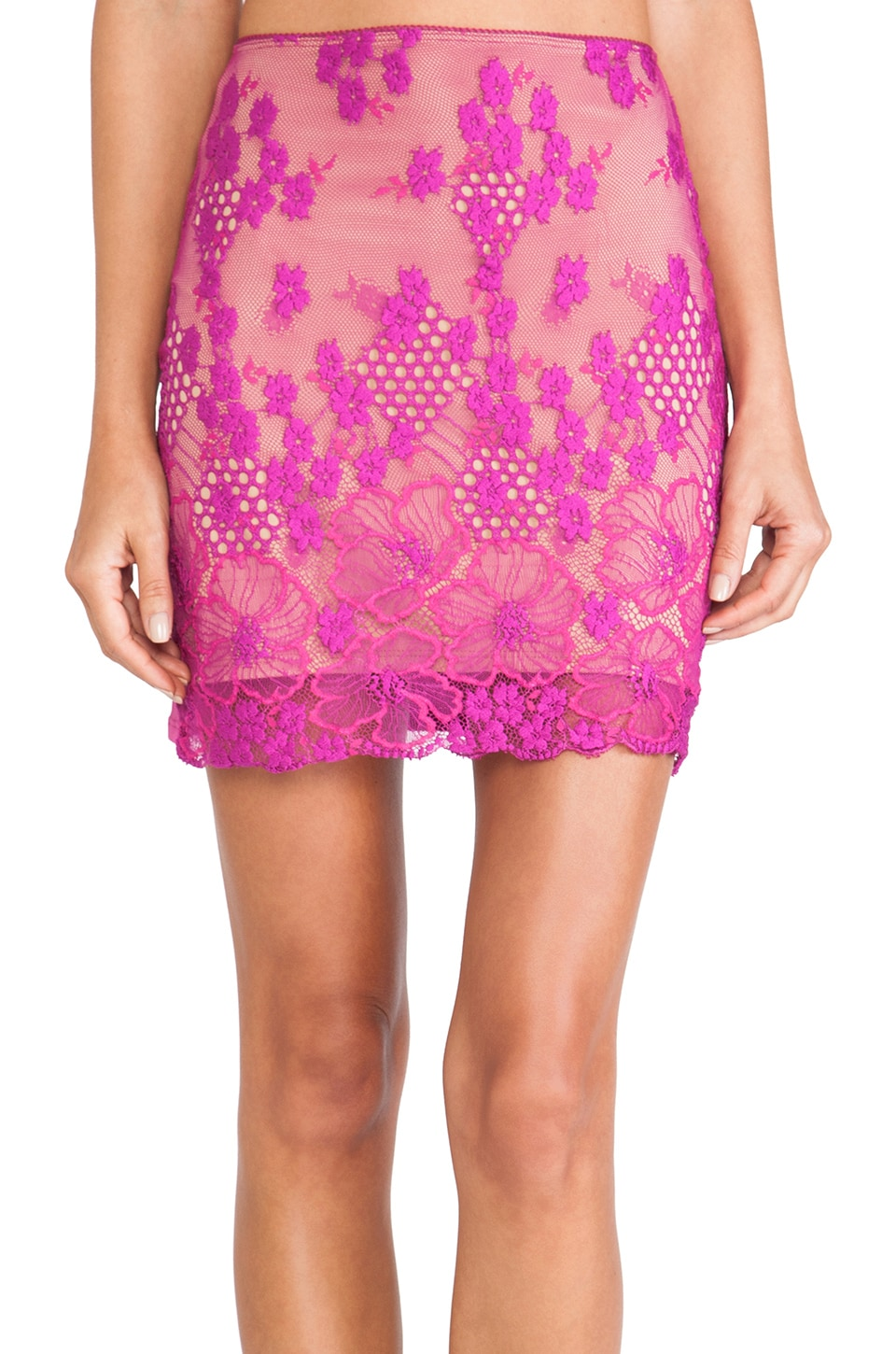 For Love & Lemons Flower Bomb Slip Skirt in Purple Orchid