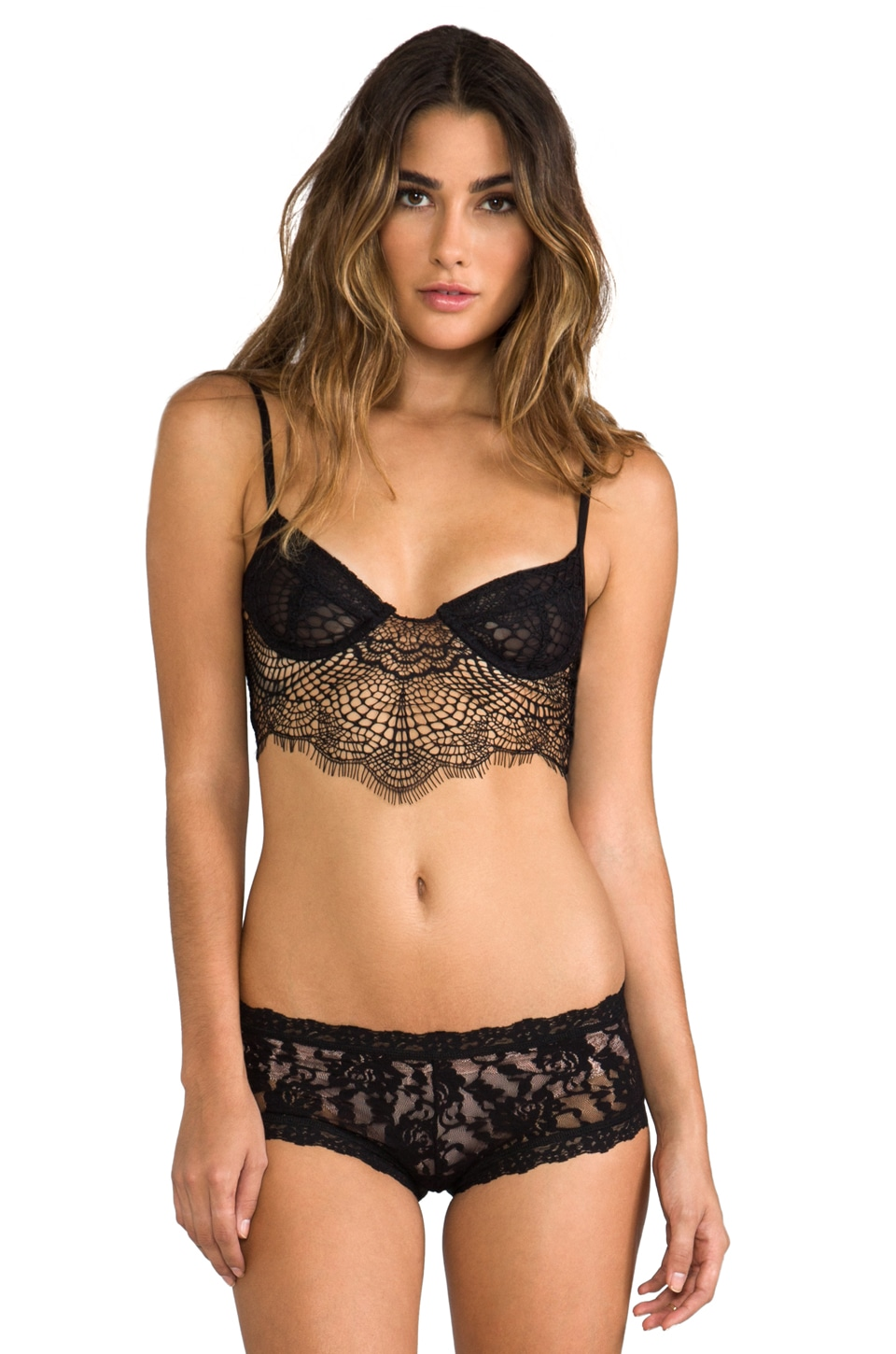 For Love & Lemons Bat-Your-Lashes Underwire Bra in Black