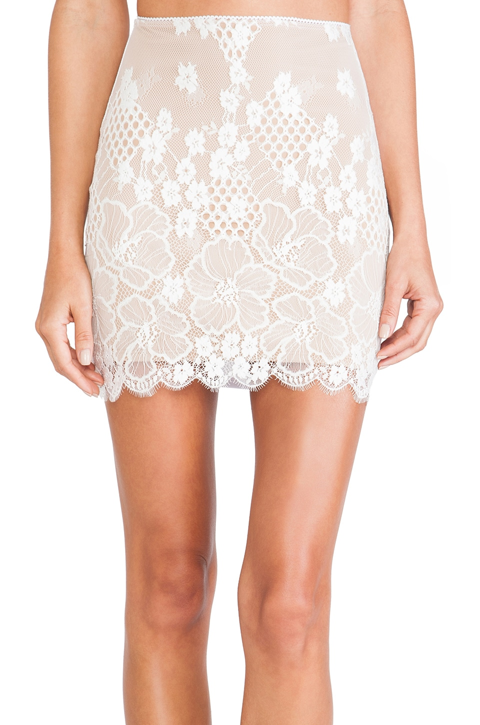 For Love & Lemons Flower Bomb Slip Skirt in White