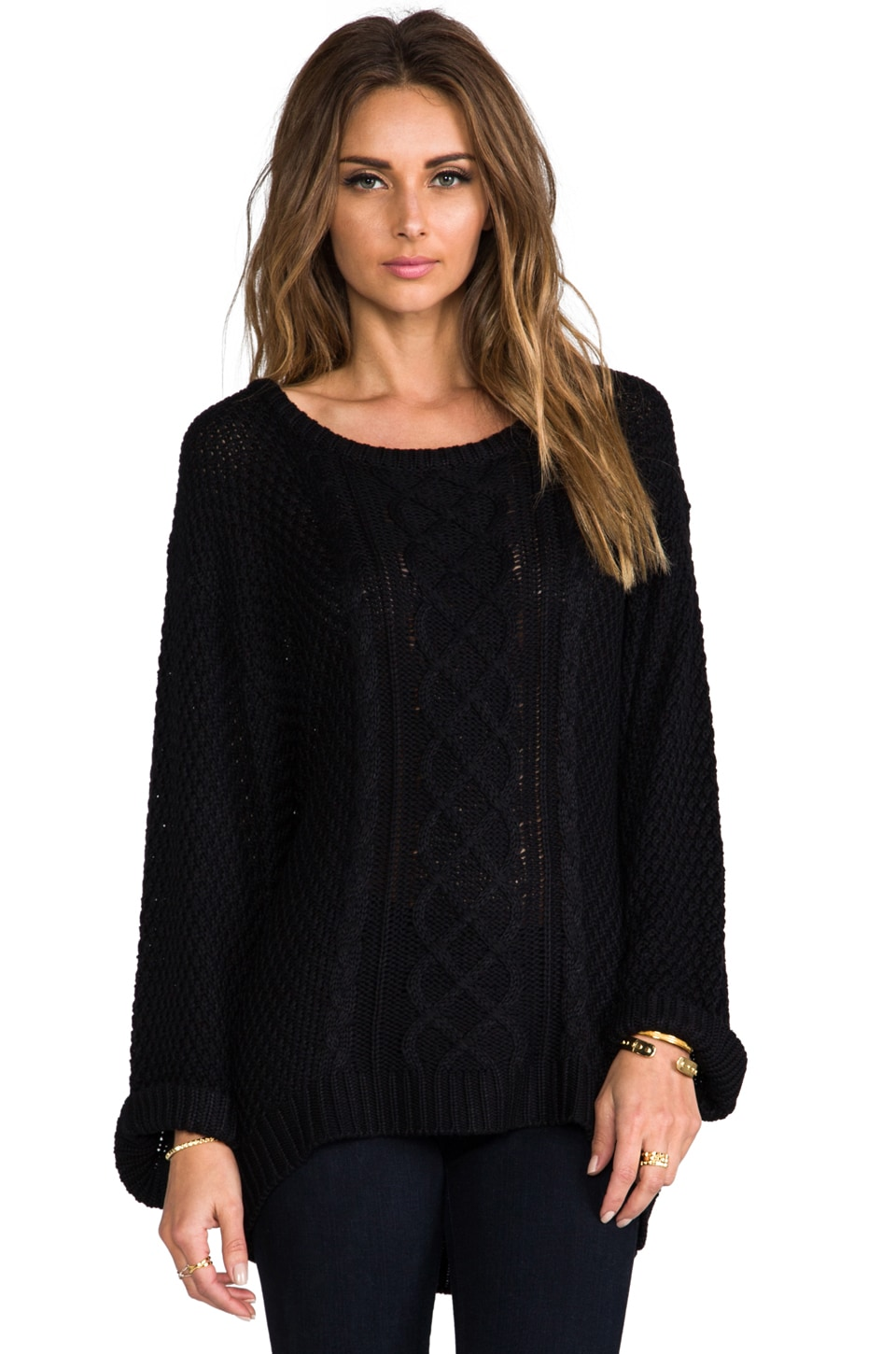For Love & Lemons Wind Down Sweater in Black