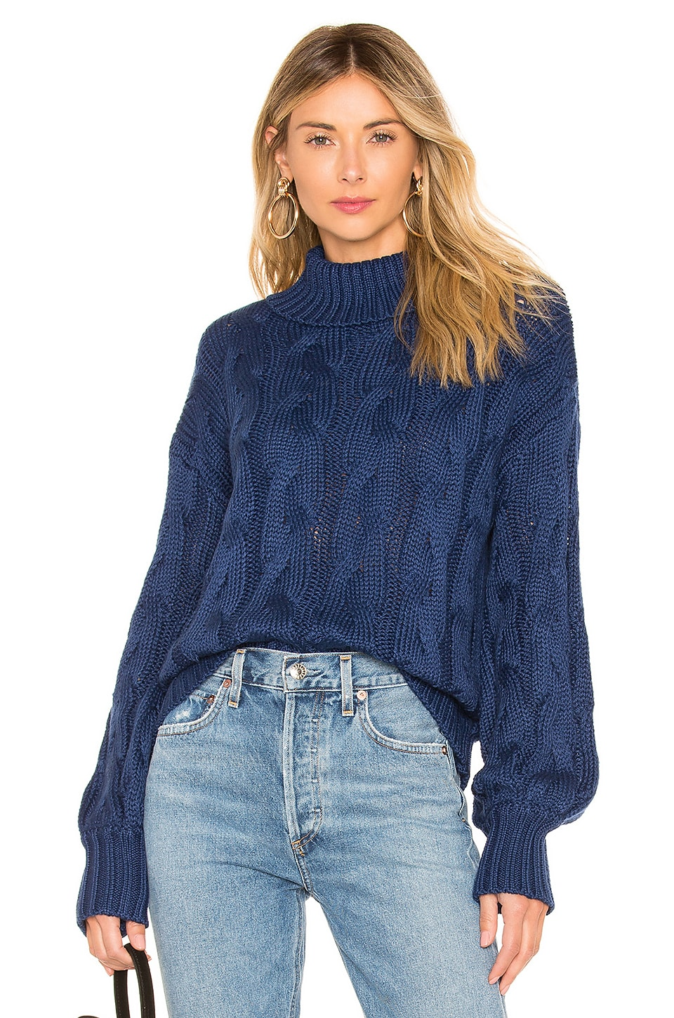 For Love & Lemons Charlotte Turtleneck Sweater in Navy