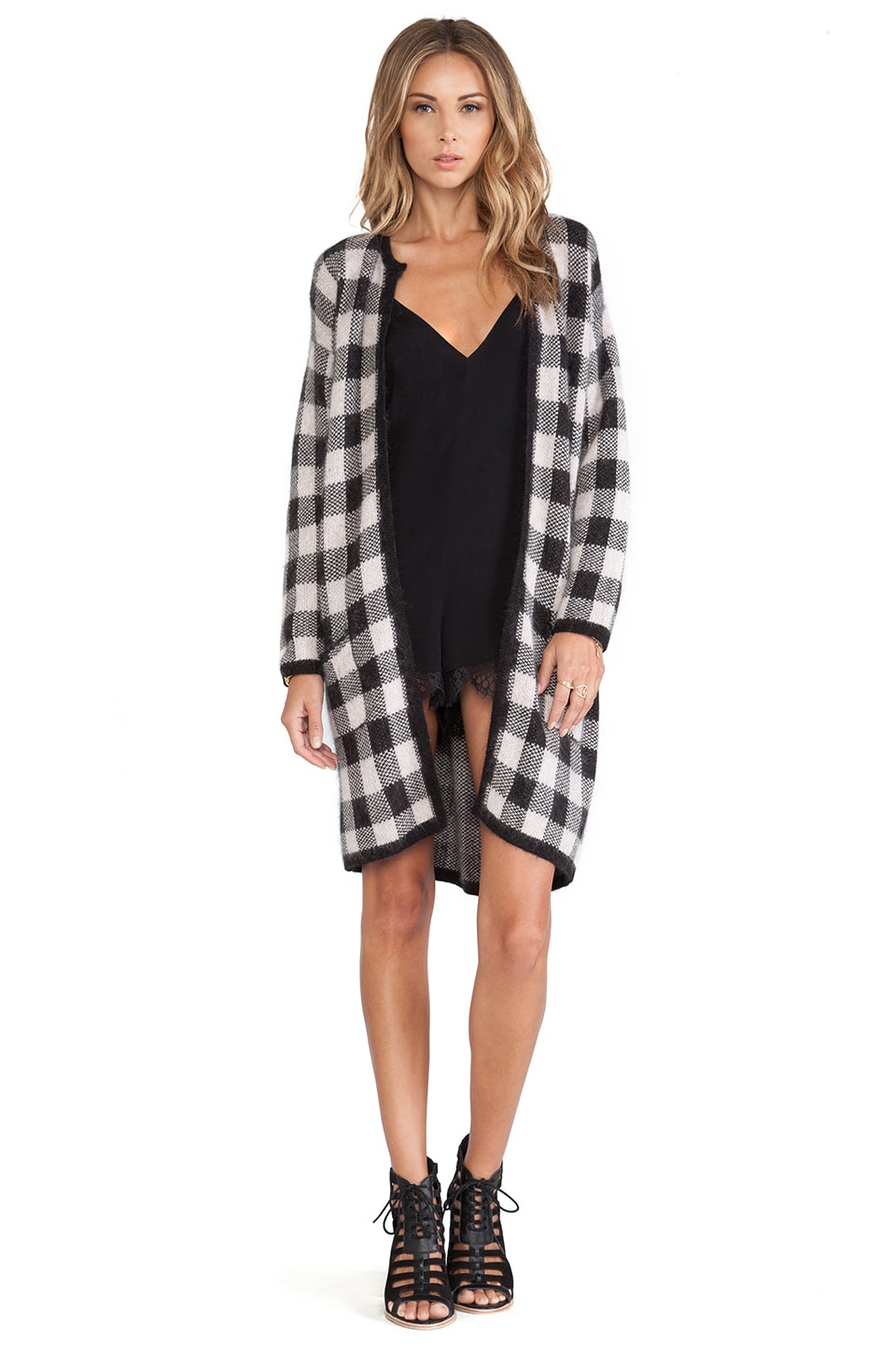 For Love & Lemons Lumber Jack Cardigan in Blush