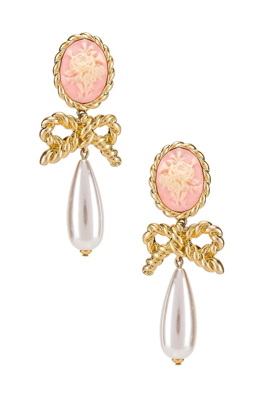For Love & Lemons Cameo Pearl Drop Earrings in Vintage Gold