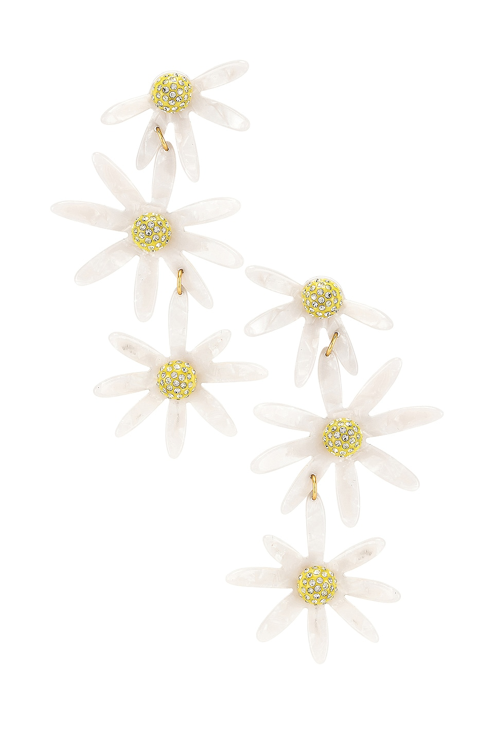 For Love & Lemons Lucite Daisy Earrings in White
