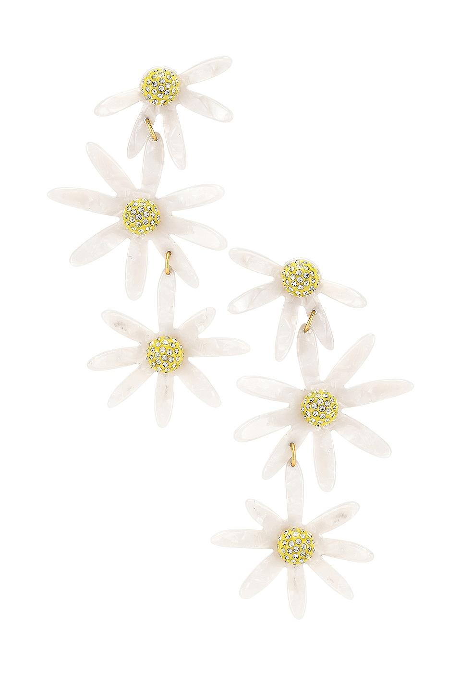 For Love & Lemons Lucite Daisy Earrings in White