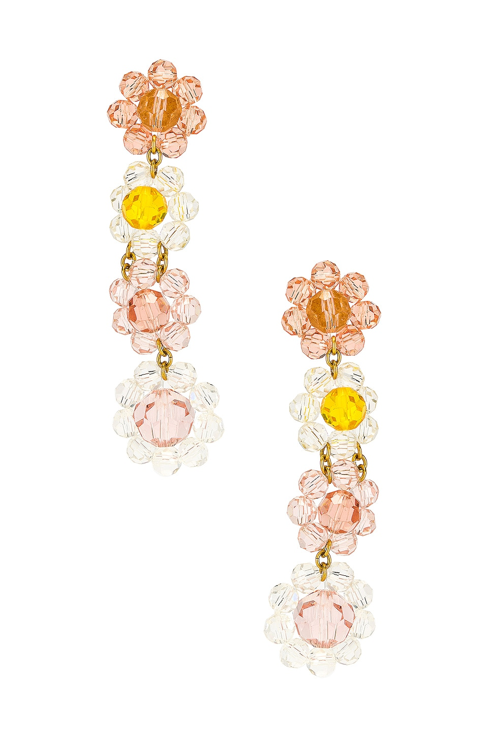 For Love & Lemons Bouquet Beaded Earrings in Clear & Pink