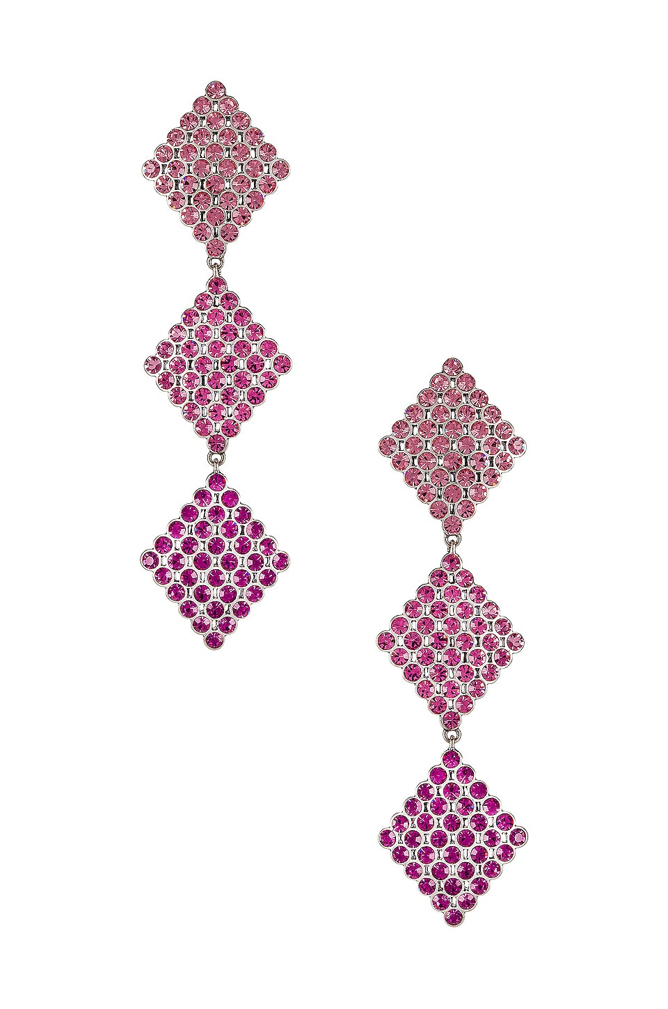 For Love & Lemons Casbah 3 Tier Stone Earrings in Pinky