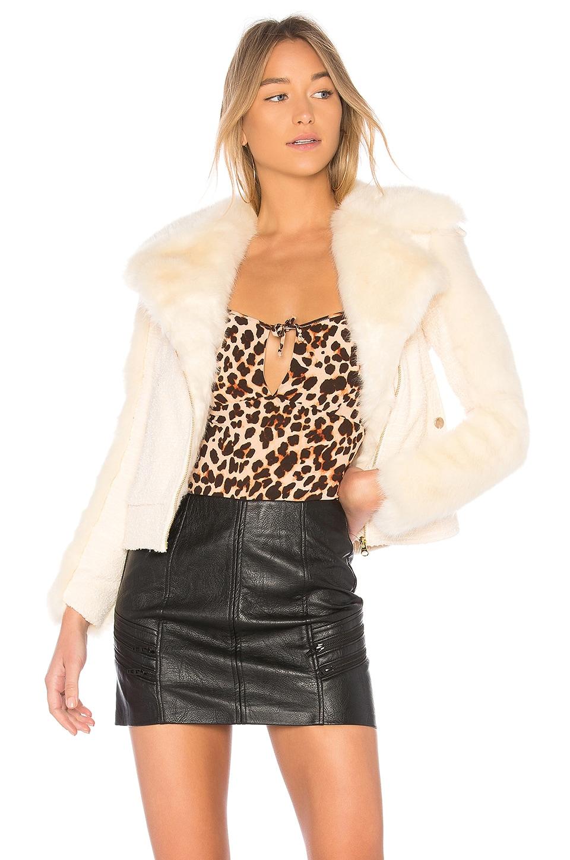 For Love & Lemons Andi Faux Fur Moto Jacket in Creme Tweed