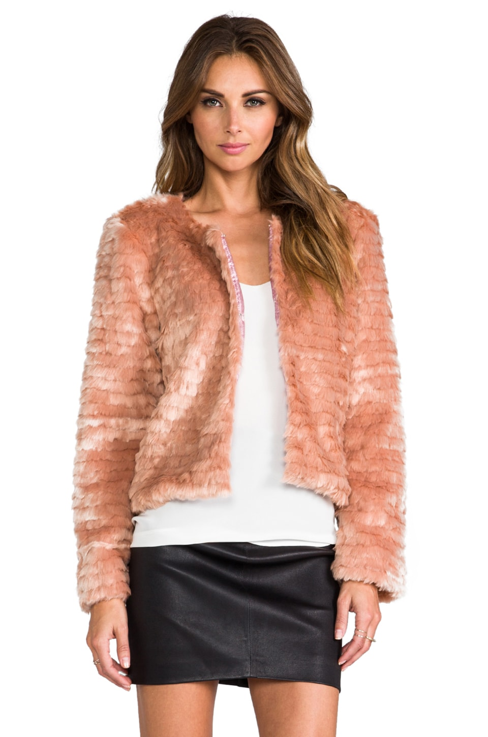 For Love & Lemons Faux Fur Jacket in Pale Pink