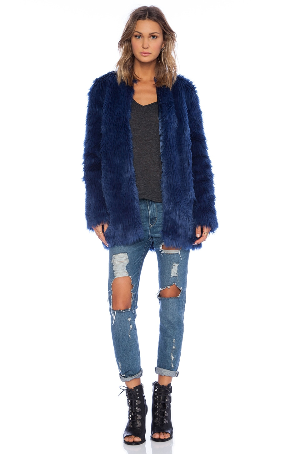 For Love & Lemons Wanderlust Faux Fur Jacket in Blue Ashes