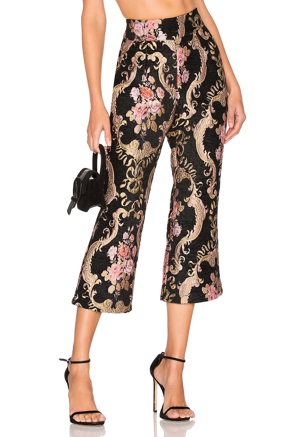 For Love & Lemons Brocade Flared Pant in Black Floral