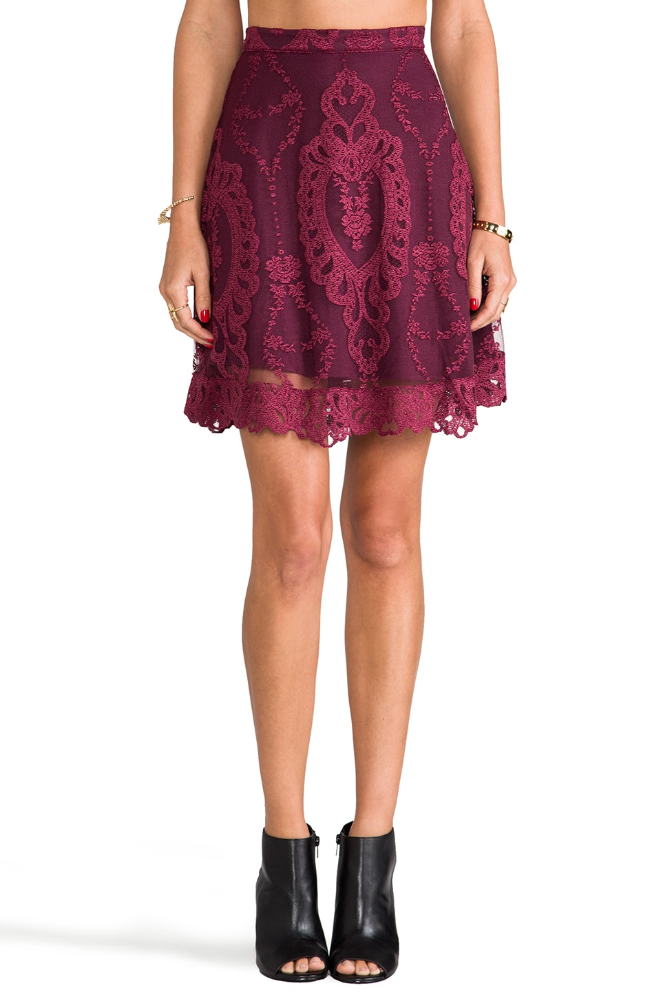 For Love & Lemons Forever Skirt in Wine
