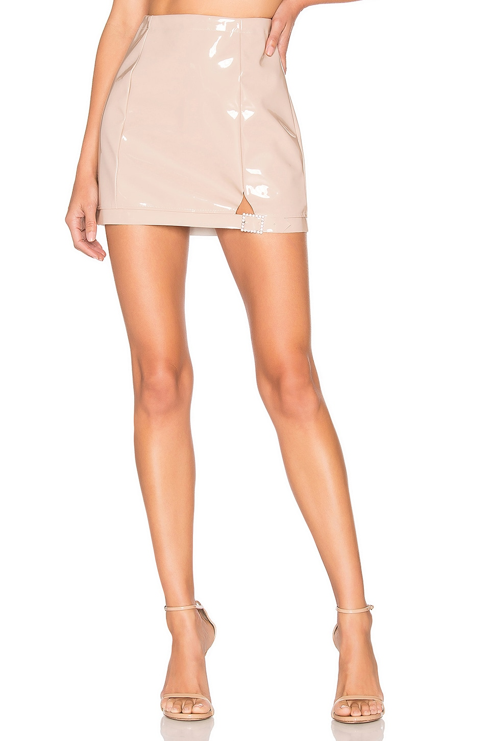 For Love & Lemons High Roller Latex Skirt in Flush