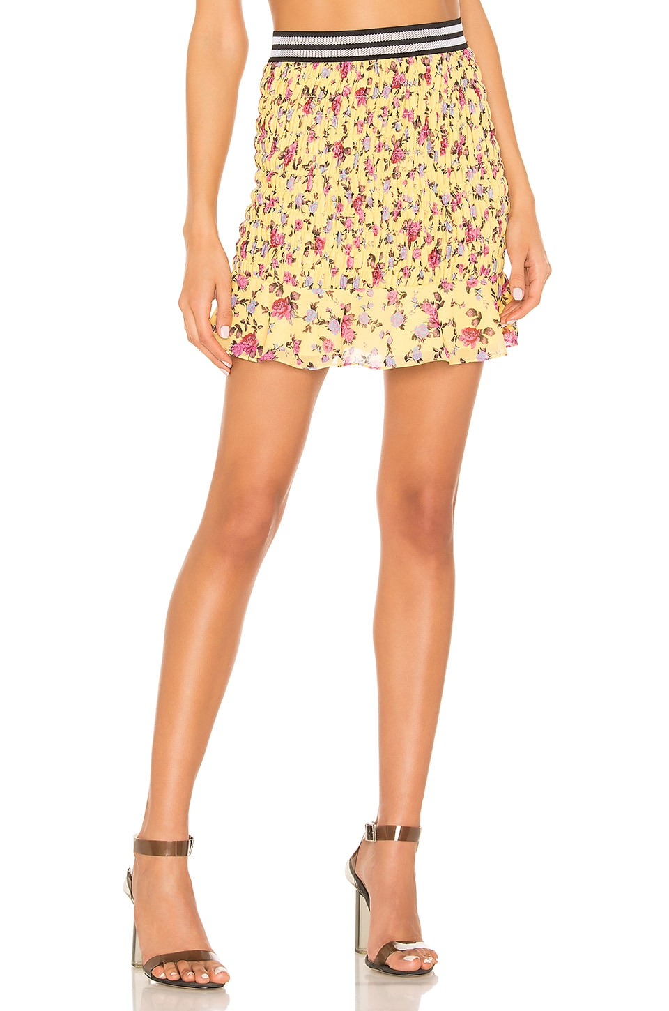 For Love & Lemons Odette Mini Skirt in Yellow