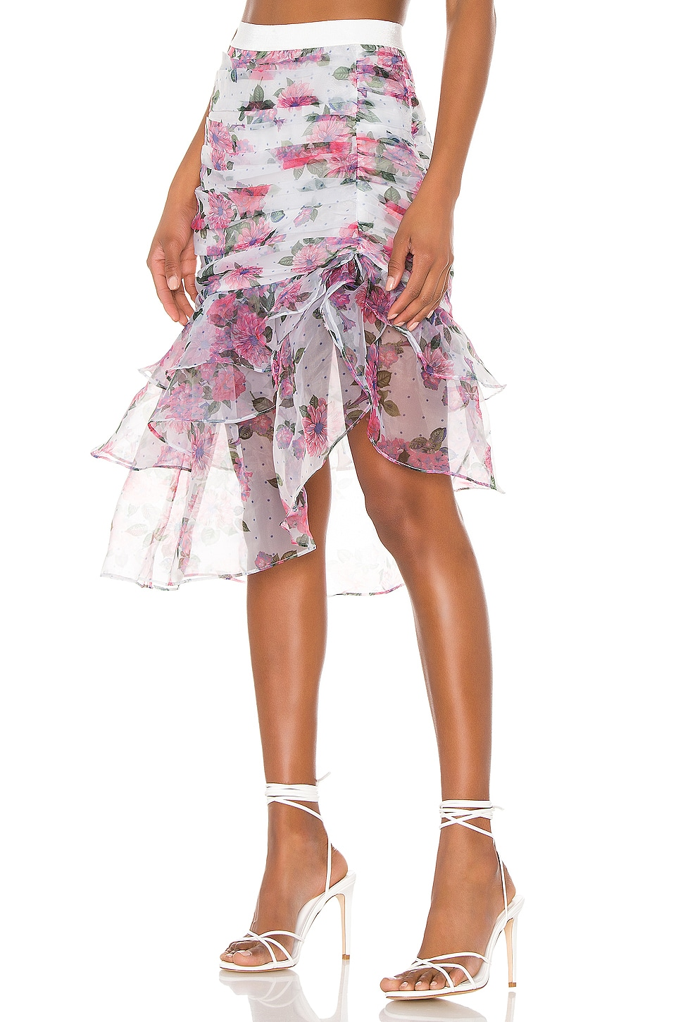 For Love & Lemons X REVOLVE Asymmetric Ruffle Skirt in Pink & Blue Floral