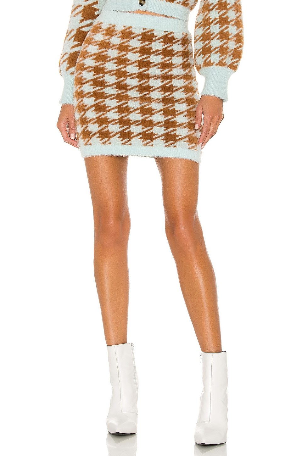 For Love & Lemons Cher Houndstooth Mini Skirt in Toffee