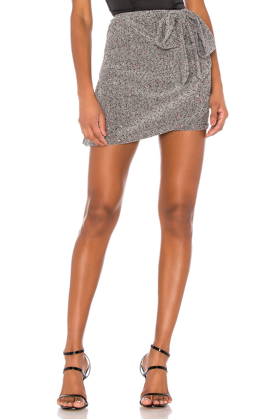 For Love & Lemons Auguste Sparkle Mini Skirt in Silver