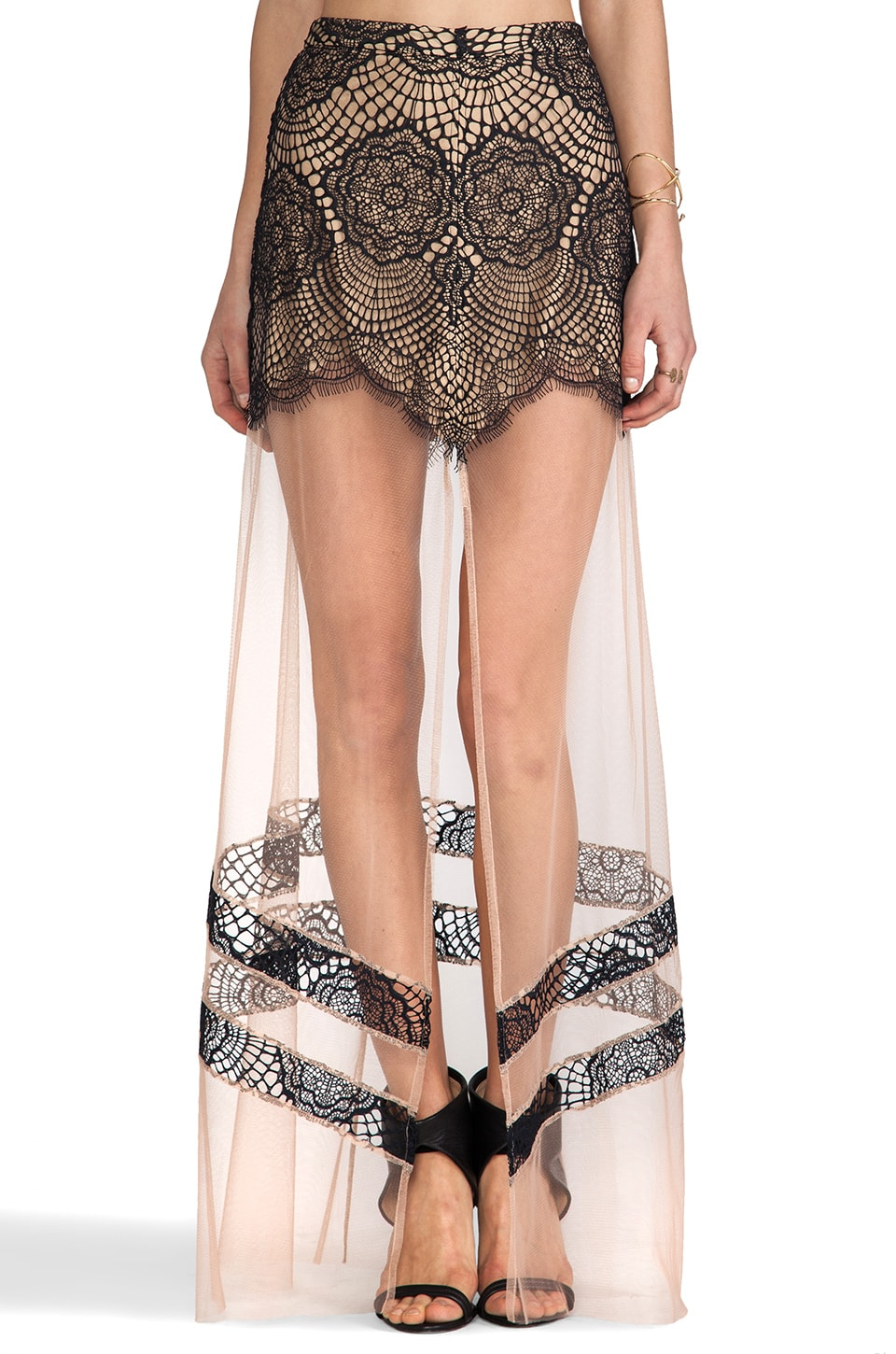 For Love & Lemons Antigua Maxi Skirt in Black