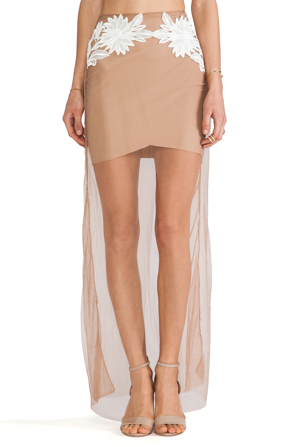 For Love & Lemons Balmly Nights Skirt in Nude