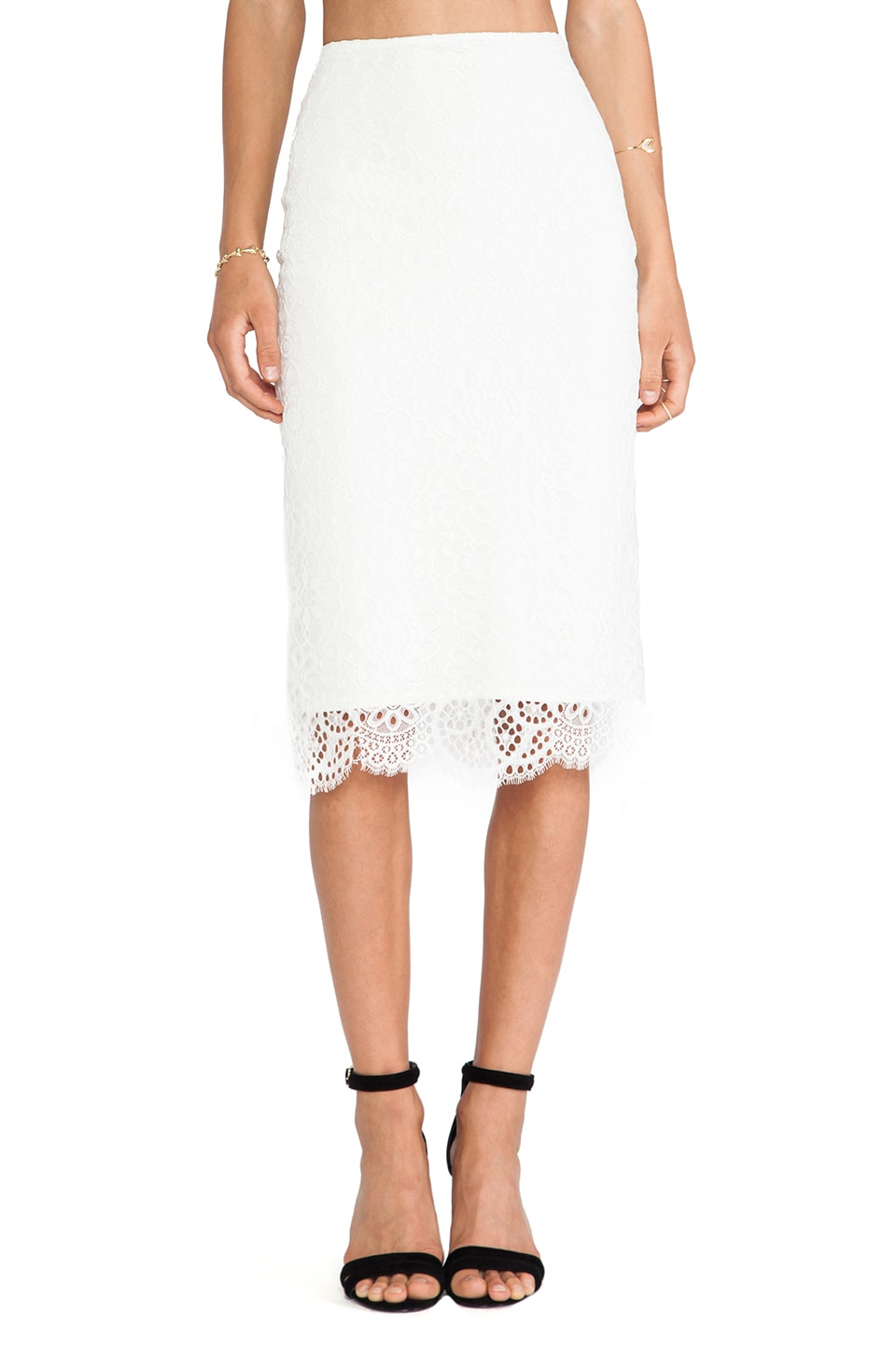 For Love & Lemons Holly pencil Skirt in Off White