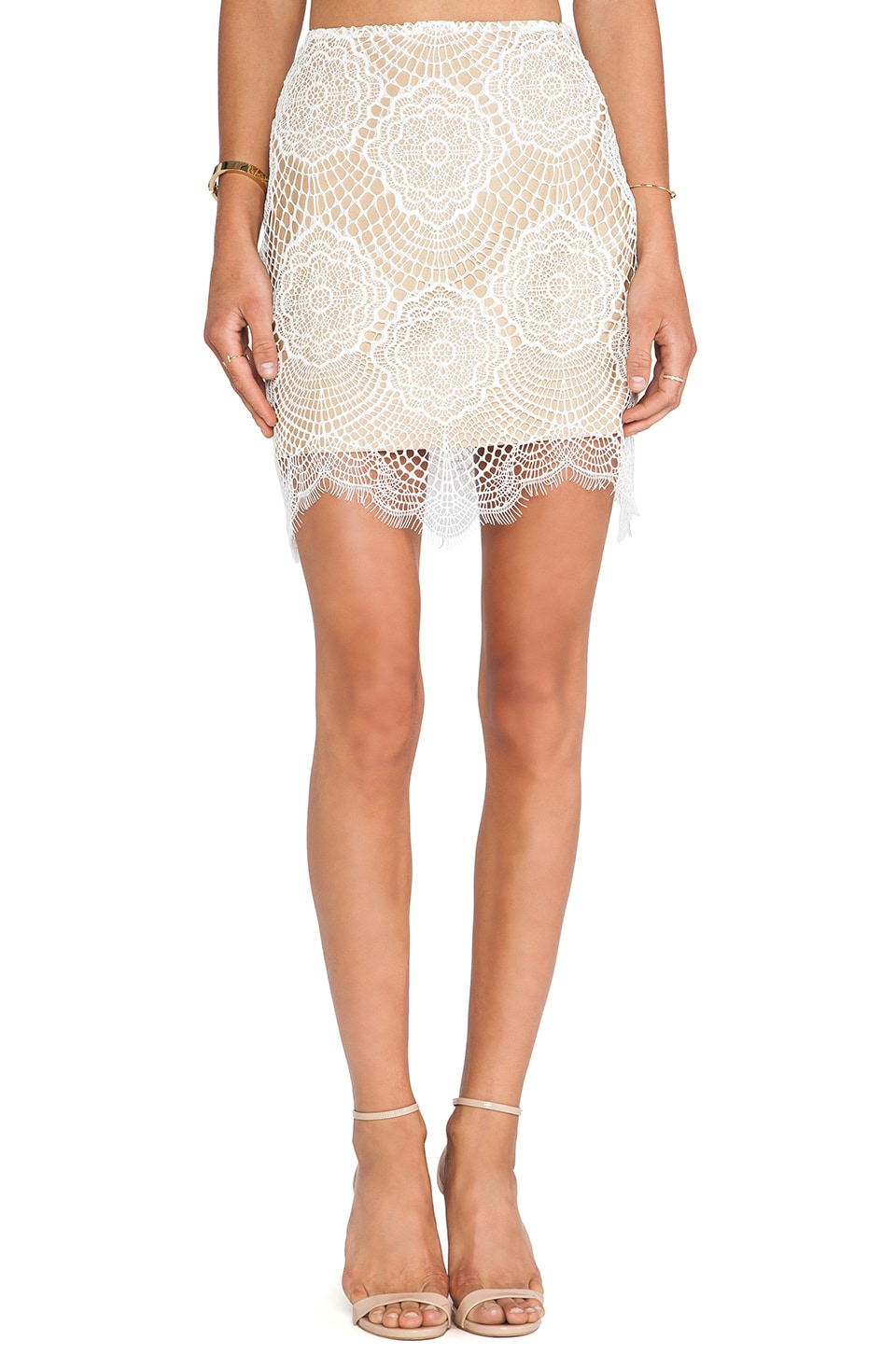 For Love & Lemons Grace Mini Skirt in White